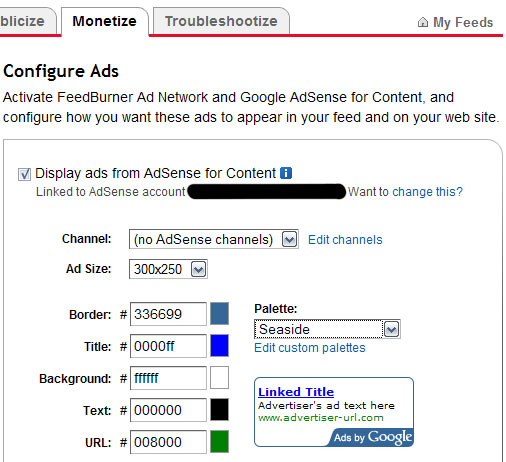 Google Ads configuration on Feedburner