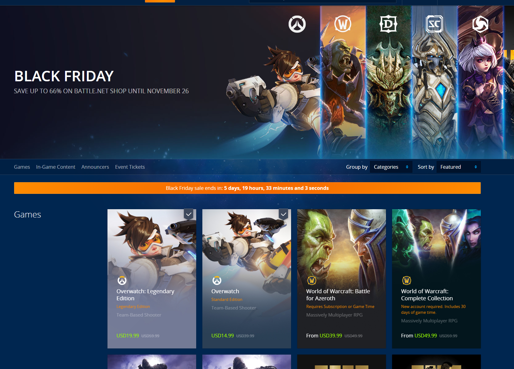 Blizzard Opens Up It S Black Friday Sale